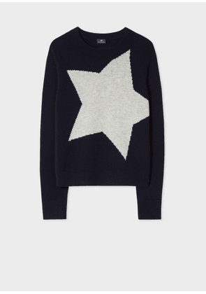 Women's Dark Navy Wool-Blend 'Star' Intarsia Sweater