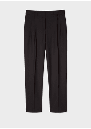 A Suit To Travel In - Women's Tailored-Fit Black Double-Pleat Wool Trousers