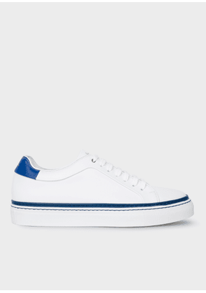 Men's White Leather 'Basso' Trainers With Blue Details