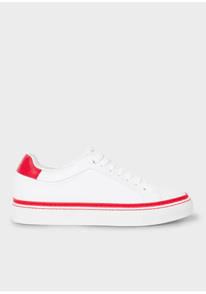 Men's White Leather 'Basso' Trainers With Red Details