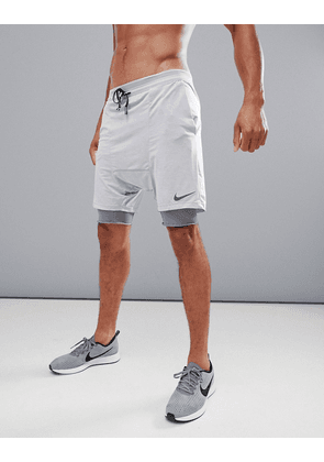702133c38d815 Nike Running  Run Division  Distance Drop Crotch Shorts In Grey 892893-027 -