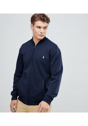 ae8c1d08 Polo Ralph Lauren Big & Tall Full Zip Sweat Bomber Player Logo in Navy -  Aviator
