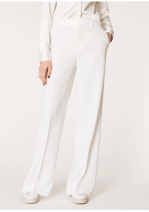 Women's Ivory Wide Leg Tuxedo Wool Trousers With Satin Details