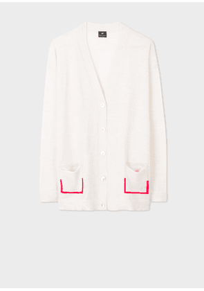 Women's Off-White Wool Cardigan With Pocket Detail
