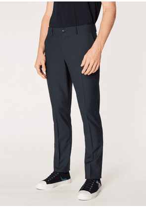 Men's Mid-Fit Dark Navy Small-Check Wool Trousers