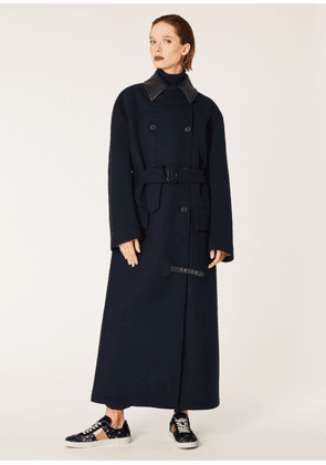 Women's Navy Oversized Wool-Blend Mac With Leather Collar