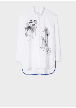 Women's White 'Journal Print' Embroidered Cotton Shirt