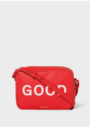 Women's Red Leather 'Good' Print Cross-Body Bag