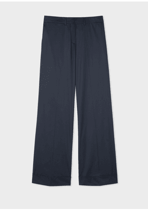Women's Navy Stretch-Cotton Wide Leg Trousers
