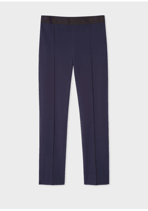 Women's Navy Stretch-Cotton Skinny-Fit Trousers