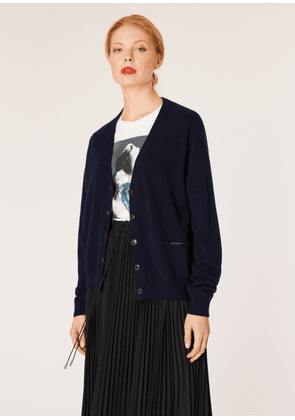 Women's Navy Cashmere Cardigan With Relaxed Pockets
