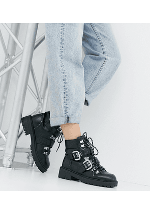 82d9976e433 RAID Wide Fit Daelyn black lace up chunky hiker boots