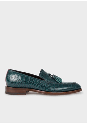 Women's Teal Mock-Croc Leather 'Alexis' Loafers