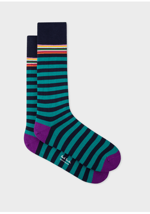Men's Navy And Teal Stripe Socks
