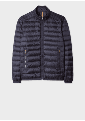 Men's Navy Down-Filled Jacket With 'Artist Stripe' Gradient Lining