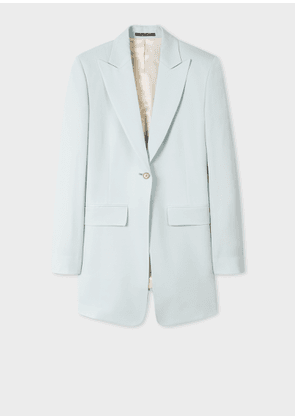Women's Slim-Fit Light Blue Long Wool Blazer