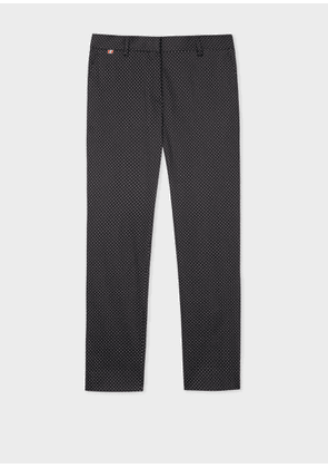 Women's Slim-Fit Black And White Polka-Dot Stretch-Cotton Trousers