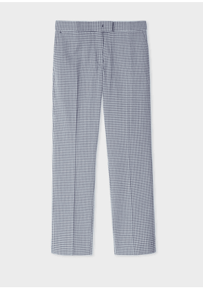 Women's Slim-Fit Navy Gingham Cotton Trousers