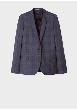 Women's Navy Polka Dot Jacquard Wool Blazer