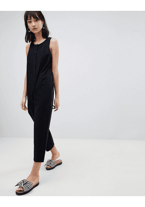 4f0d4bc15a ASOS DESIGN sleeveless button front boilersuit in paintbrush print ...