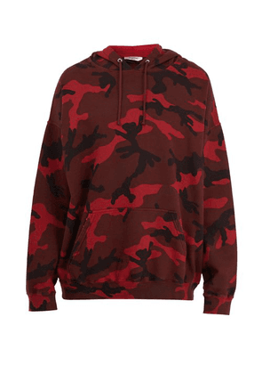 Valentino - Camouflage Print Cotton Blend Hooded Sweatshirt - Mens - Red