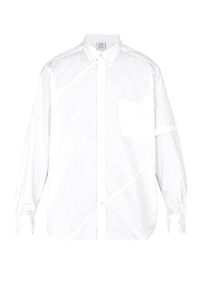 Vetements - Logo Embroidered Patch Pocket Cotton Shirt - Mens - White