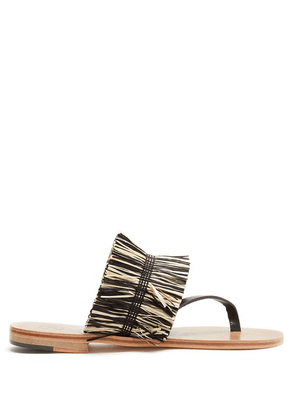 Álvaro - Alberta Raffia Embellished Sandals - Womens - Black Cream