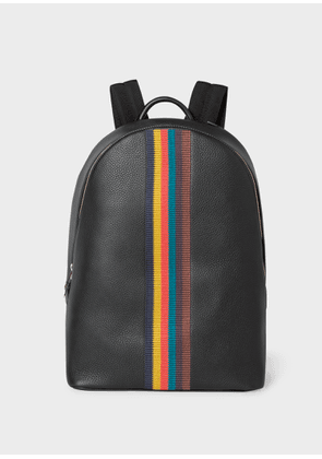 Men's Black Leather 'Bright Stripe' Backpack