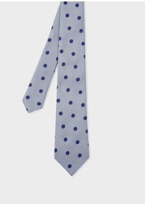 Men's Blue Houndstooth And Polka Dot Silk Tie
