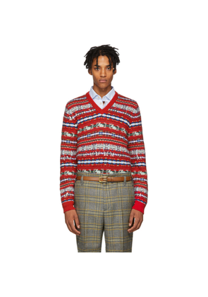 Gucci Red Wool Jacquard V-Neck Sweater