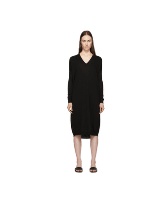 6397 Black Merino Wool V-Neck Dress