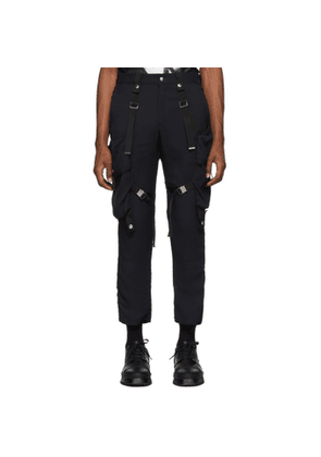 ALMOSTBLACK Navy Strapped Cargo Pants