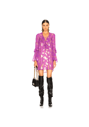 Dundas Lace Up Fil Coupe Blouse in Floral,Metallics,Purple