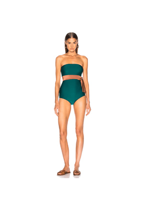 ADRIANA DEGREAS Cinque Terre Strapless Bikini With Knot Detail in Brown,Green