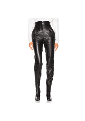 ALBERTA FERRETTI High Waisted Leather Tapered Pants in Black