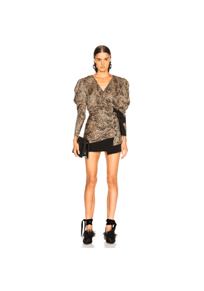 Alessandra Rich Silk Jacquard Leopard Wrap Blouse in Animal Print,Brown,Neutral