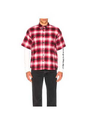 Adaptation Double Sleeve Shirt in Plaid,Red