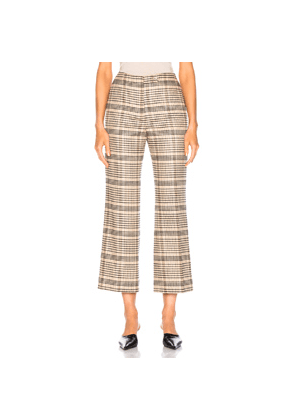 Acne Studios Cropped Trouser in Brown,Neutral,Plaid