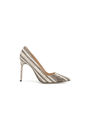 Manolo Blahnik BB Watersnake 105 Heel in Animal Print,Gray,White