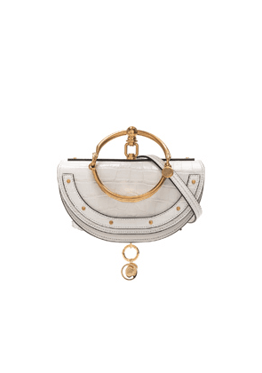 Chloe Small Nile Embossed Minaudiere in White