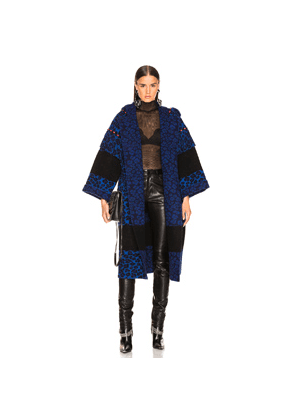 ALANUI Animalier Embroidered Knit Coat in Animal Print,Black,Blue