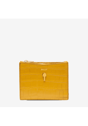 Bally Cogan Orange, Women's croc printed calf leather French wallet in gold sand