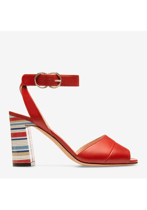 Bally Hassia Red, Women's plain calf leather sandal with 85mm heel in papavero