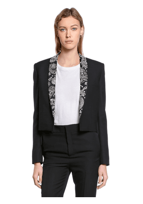 Embellished Wool & Mohair Cloth Jacket