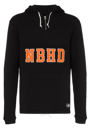 Neighborhood logo embroidered hooded cotton jumper - Black