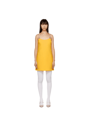 Miu Miu Yellow Crystal Star Strap Dress
