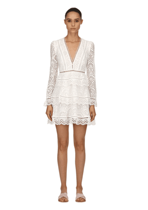 Tiered Cotton Eyelet Lace Mini Dress