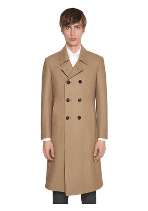 Double Breasted Melton Wool Coat