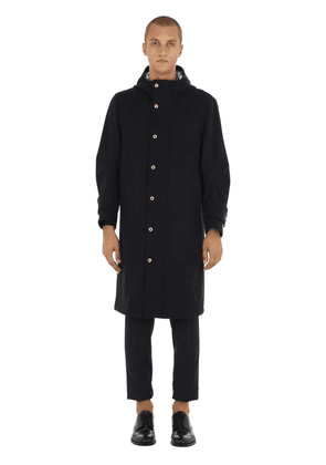 Hooded Melton Wool Coat