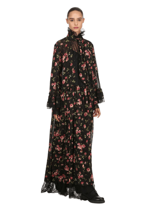 Rose Printed Long Dress W/ Ruffles